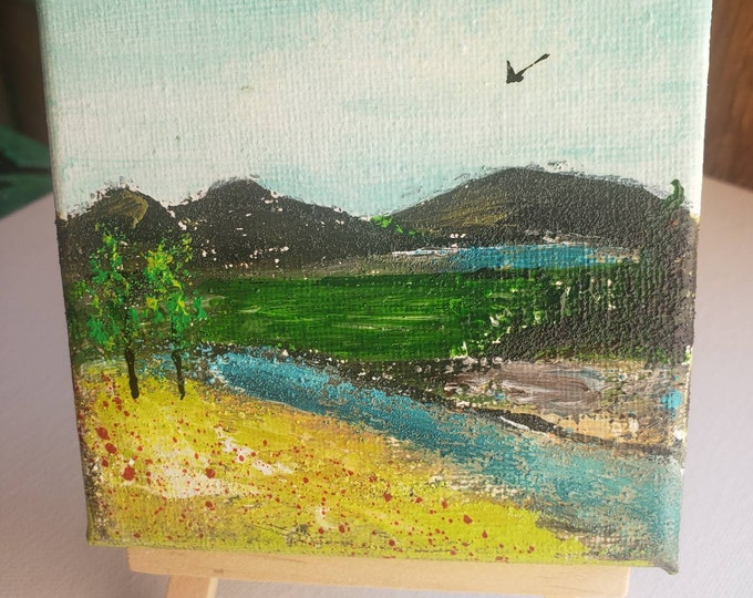 """Small Art Landscape """"Nature"""" - Original acrylic painting- 4x4 small canvas with display easel - cubical art- mantle home decor"""