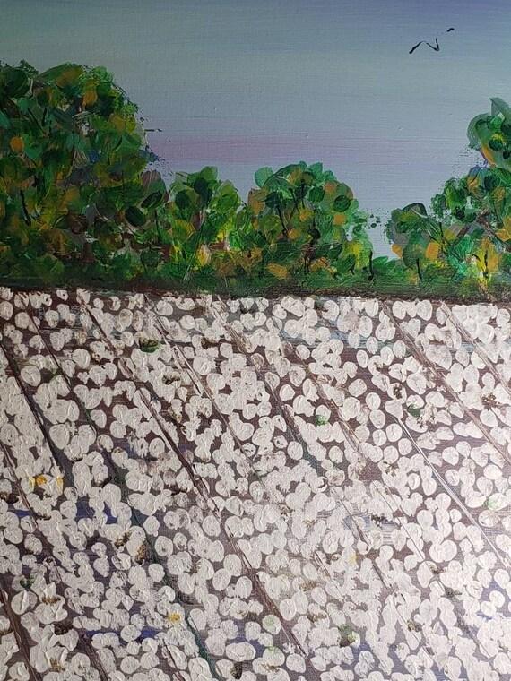 "Cotton Farm ""Colusa Cottonfield "" Original acrylic painting/16x20 Canvas /Impressionist style wall art"