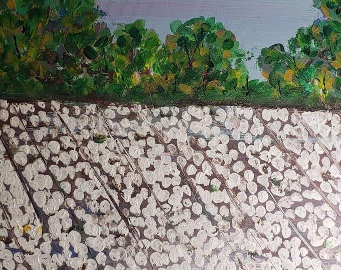 "Cotton Farm ""Colusa Cottonfield ""-  Original acrylic painting- 16x20 Canvas - Impressionist style wall art"