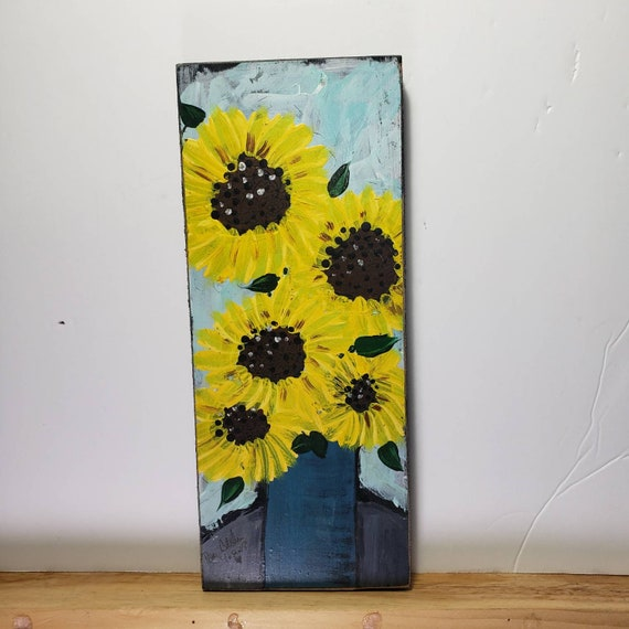 A vase of Sunflowers acrylic painting / 4x10 on birch plywood/ Rustic Flower Art/ Folk art Floral