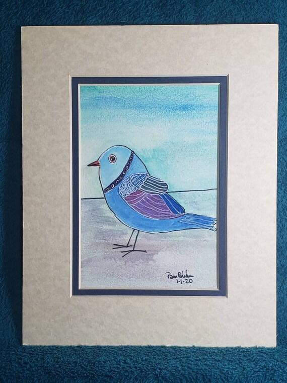 "Watercolor and ink     ""Sweet Bluebird"" matted original artwork/8x10 Matted bird painting/wall art/home decor"