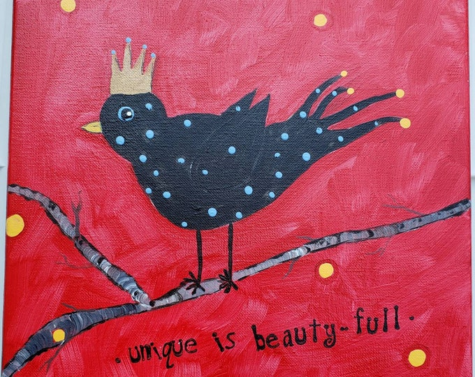 "BLACKBIRD ""Unique is Beauty-Full "" - 12x12 original acrylic painting"