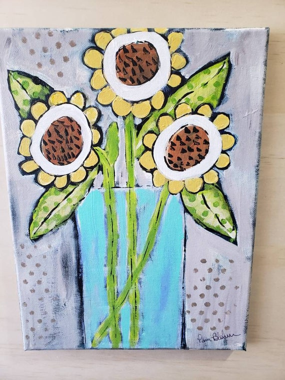 Original acrylic painting/3 abstract Wildflowers/9x12 home decor wall art /flower artwork