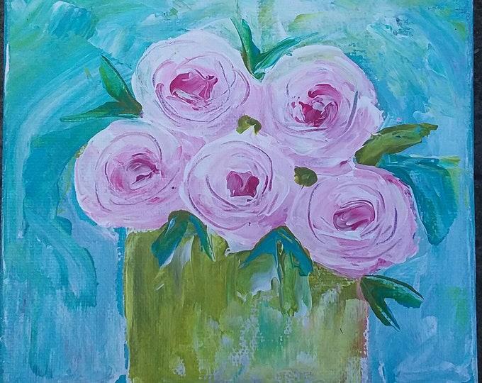 Original Acrylic Painting -Vase of PINK Flowers- Summer Rose bouquet 6x6 small art - Swirl Flowers Still Life Wall art -Home Decor