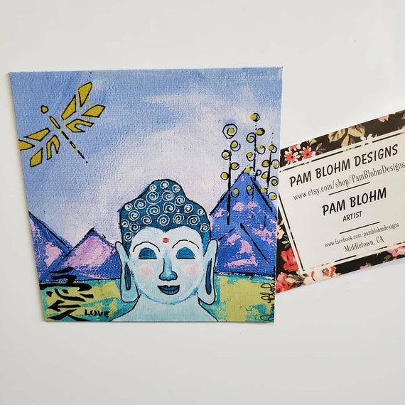 "Art MAGNET ""Buddha on Retreat"" small art from original artist painting / office art / gift idea/ Zen art/ made in USA"