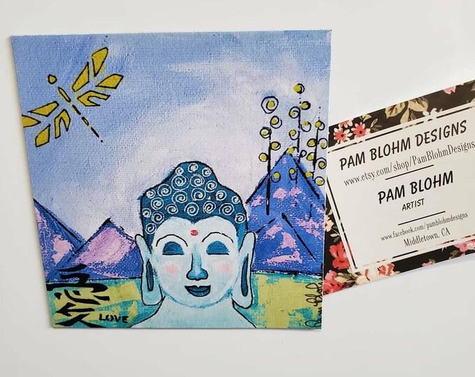 """Art MAGNET """"Buddha on Retreat"""" small art from original artist painting - office art - gift idea- Zen art-  made in USA"""