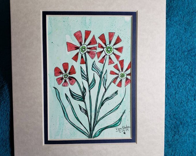 Original watercolor and ink-Whimsical Abstract  Flowers - Double matted to 8x10