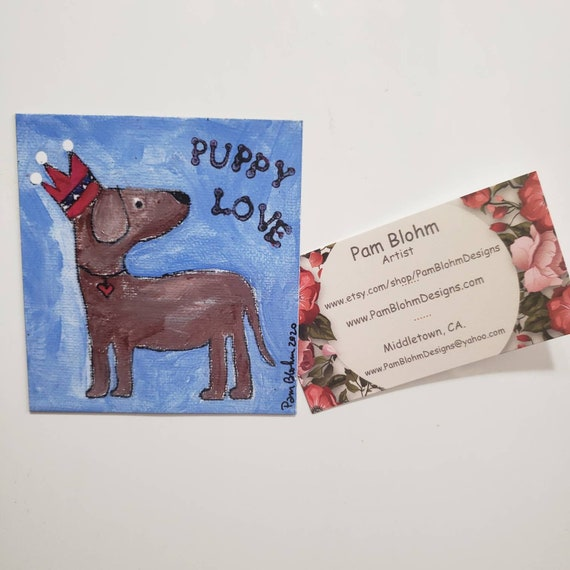 "Art MAGNET ""puppy love"" small art metal surface decor/Dog Lovers gift idea /Man or Boy small art gift / Made in the USA"