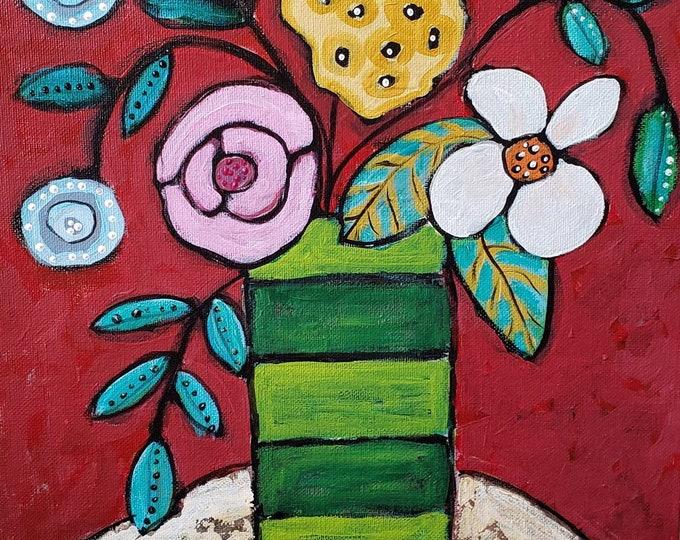 "11x14 ""Boho Floral"" - Original Acrylic Painting -Canvas Panel Flower artwork-Nursery Wall Art"