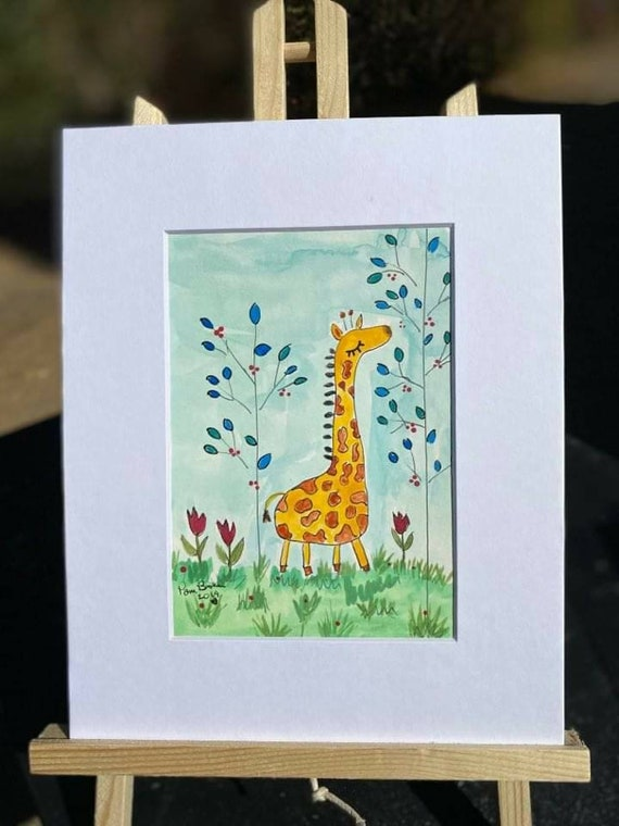"Original Watercolor Painting  ""Bongo in the blue leaf Jungle"" /Giraffe artwork /  8x10 Matted art/  Nursery art/childroom decor/ gift idea"