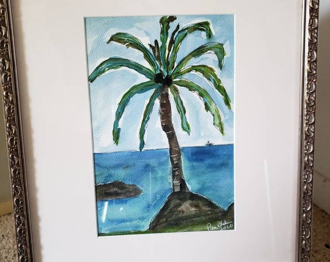 """Framed """"Lone Beach Palm """" wall art - tropical painting - Hawaii Home decor  -nursery decor -13x16 Original Watercolor and Ink painting"""
