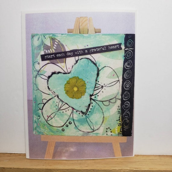 "Artist blank note cards "" Start  each day with a Grateful Heart"" /  mixed media art by Pam Blohm / Printed  in the USA"