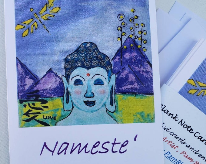 """Buddha """"Nameste """" blank note card set from artist artwork - 5 piece gift set includes self adhesive envelopes"""