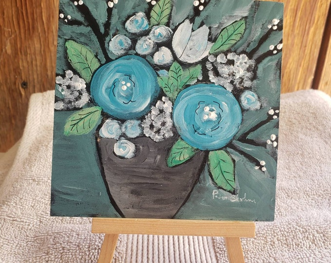 Flowers in a Vase - Original acrylic painting - 5×5 small art Flat Birchwood  panel- includes display easel