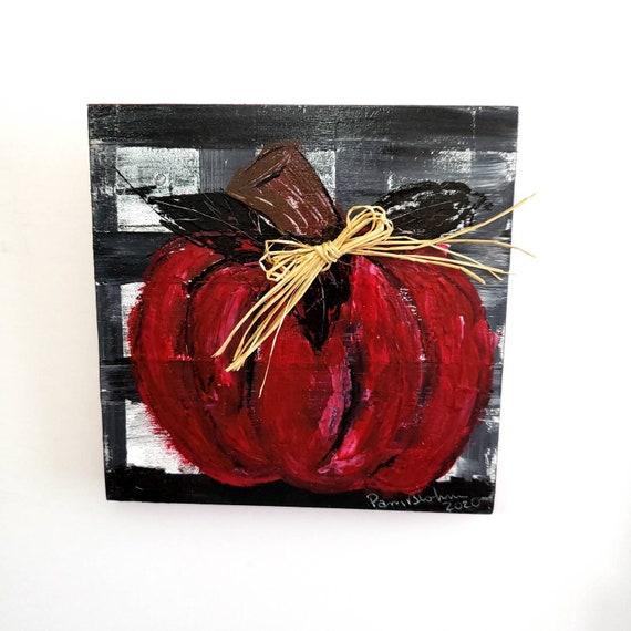 "Original acrylic painting on wood canvas ""Red Pumpkin"" /Buffalo plaid background 6""x6""."