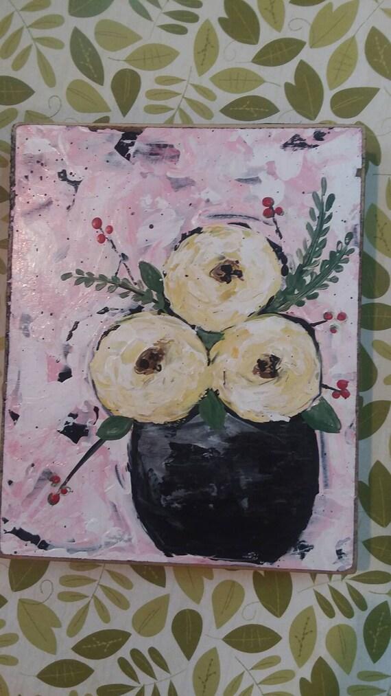"Sweet floral bouquet ""Momma's Favorite"" wall art/nursery art/home decor/home accent/yellow flowers/small flower art/gift idea/cubicle art"