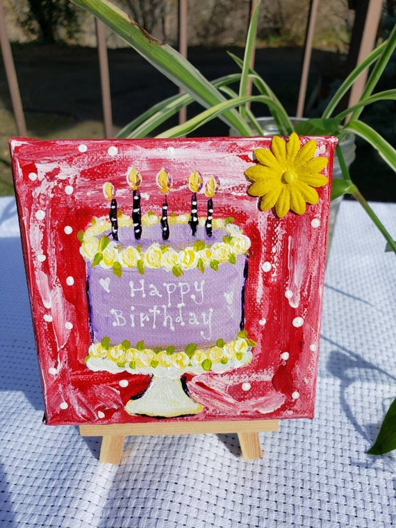 "Small art ""Happy Birthday "" cake painting/4x4 dessert canvas / original acrylic paintings/tiered tray decor"