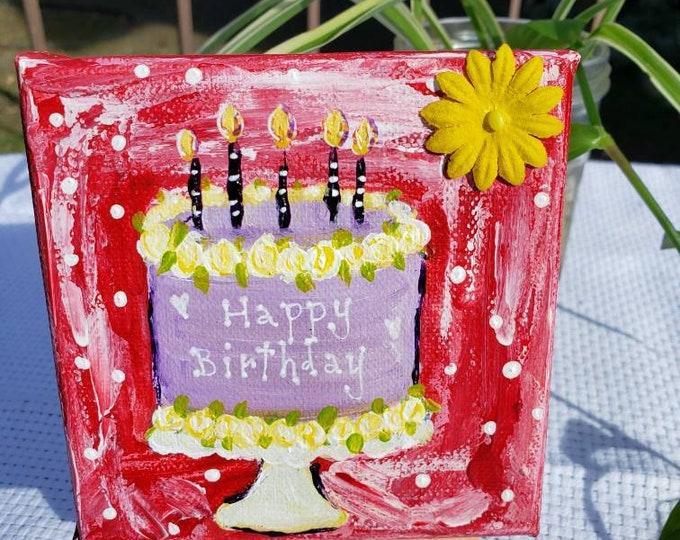 "Cake Art  ""Happy Birthday "" - 4x4 small art canvas - original acrylic paintings- tiered tray decor"