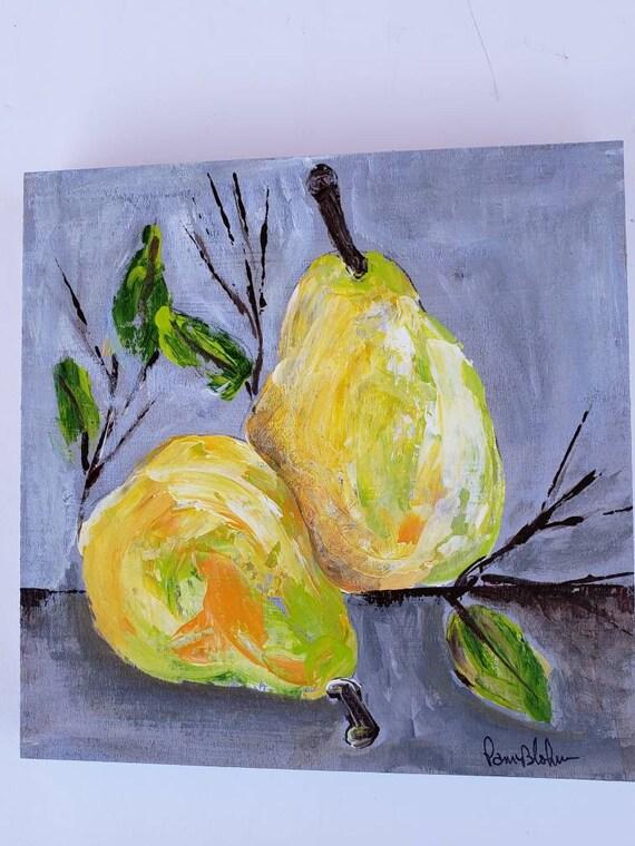 "Original acrylic painting on Birchwood canvas / ""Golden Pears "" kitchen wall decor/ 8x8"" fruit art"
