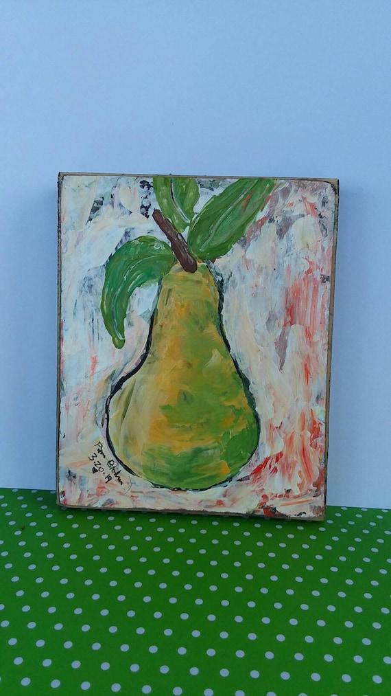 "Abstract acrylic Pear original painting ""Ripe and Ready "" Kitchen art/restaraut art/food art/Abstract Pear/ Fruit art/ abstract original"