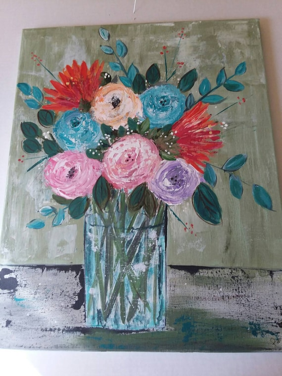 "New ""Spring in Bloom"" Abstract floral/ Wall Art/Home Decor/Office Art/ Flower Art/ Roses/  original acrylic painting/nursery art/ 16x20"