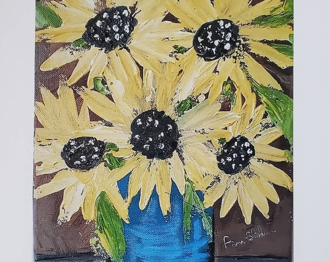 """Artist PRINT """"Sunflower Bouquet"""" from original acrylic painting by Pam Blohm- White matted to 8x10 frame size"""