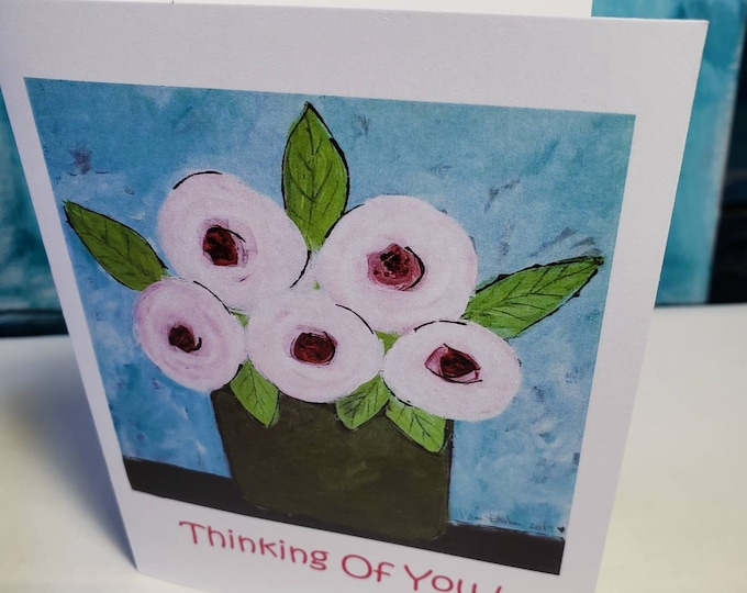 """Pink Abstract Flowers  """" Thinking of You"""" Blank inside Notecards Cards - Set of 5 includes self adhesive envelopes"""