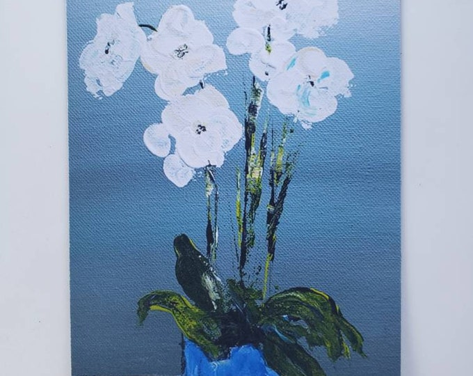 "Fine Art Fridge MAGNET ""Love White Orchids"" Kitchen Decor / 3x5 ""  from original painting by Pam Blohm/ Gift Idea/ Flower art"