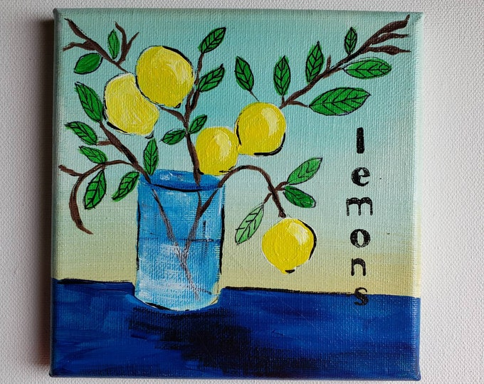 "ORIGINAL "" Hanging Fruit "" Lemon Branch Acrylic Painting- 6x6 Yellow Lemons on Canvas- Yellow  and Navy Kitchen Art"