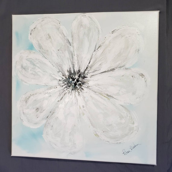 "Original acrylic painting ""One Daisy"" Abstract Flower wall art / 20x20"" Large  Home Decor"
