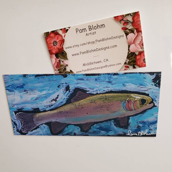 "Art MAGNET ""Rainbow Trout"" /  from original acrylic painting 3.0"" x 6.25"" /Fisherman gift idea /Stocking Stuffer for  boy or man"