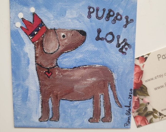 """Art MAGNET """"Puppy Love"""" -small art  decor- Dog Lovers gift idea -Man or Boy small art gift -Made in the USA- under 10"""