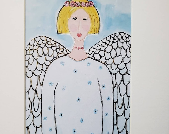 """Blonde Angel """"Soaring Wings """" Artist PRINT from original painting- White Matted to 8x10"""