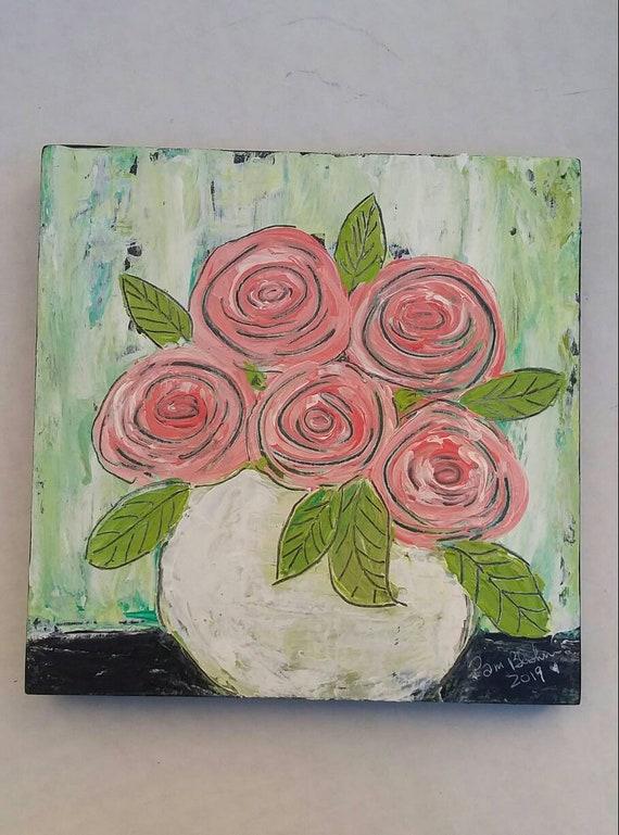 "Swirl Roses - 6x6 Original painting ""Sweet Peaches""  floral wall art/nursery decor/bathroom art/bedroom art/gift idea"