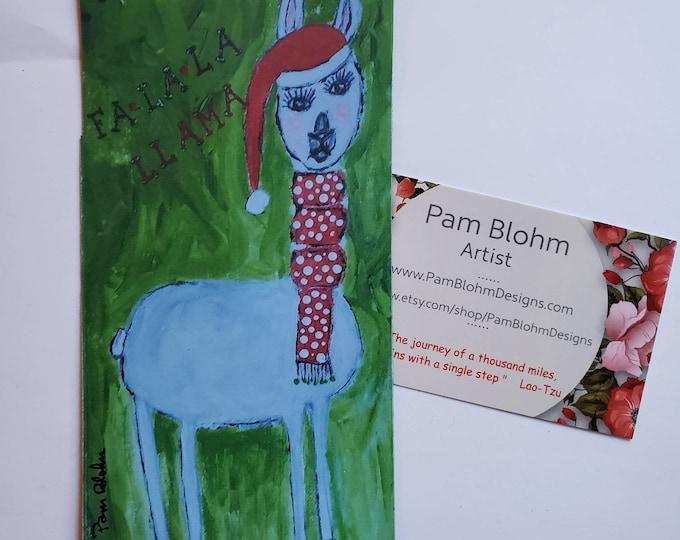 "Artist Llama Magnet ""FaLaLaLlama"" Holiday Decor for Home or Office  - Farm animal Christmas Magnet- 3x 5.75 inches"