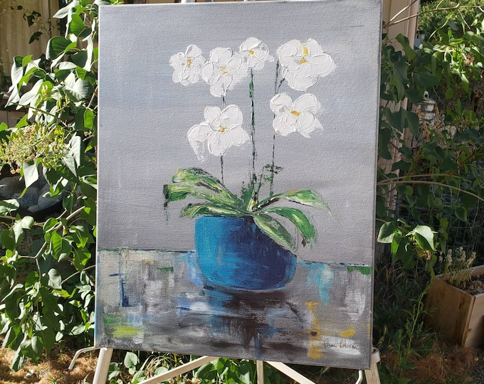 """Original Flower Still Life acrylic painting """"Orchids of White """" - Flower painting wall art -16x20  Floral Still-life"""