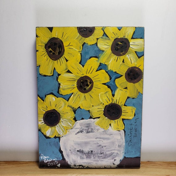 "Acrylic Painting on Wood /""Sunshine and Blue Sky"" / 5x7 Folk Art Flower art / Floral Painting wall art"