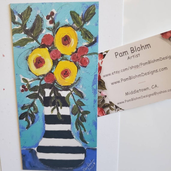 "Art MAGNET small art ""FLOWERS"" / Kitchen and Metal Surface Decor Art/ Gift Idea made in the  USA"