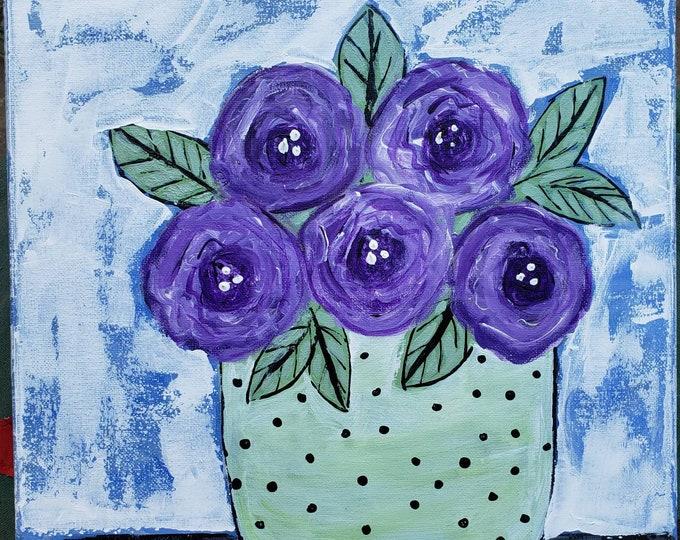 "12x12 original acrylic painting ""Passionate Purples"" Vase of Flowers wall art."