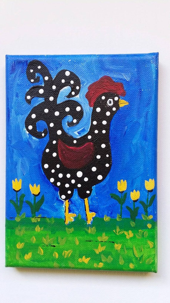 "Original 5x7 acrylic painting. ""My Chicken, Dot""  /  Kitchen Decor /Nursery art/whimsical gift."