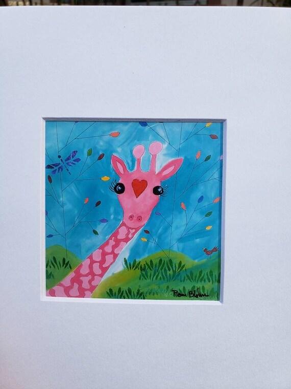 Pink giraffe Artist Print. 8x8 matted art /Nursery Decor/zoo theme /fun