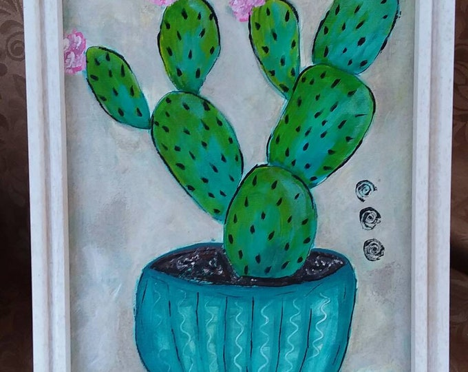 """Prickly Pear  """"Cactus in a Pot"""" - 9x12 FRAMED acrylic painting-Original Abstract wall art- Potted  Succulents"""