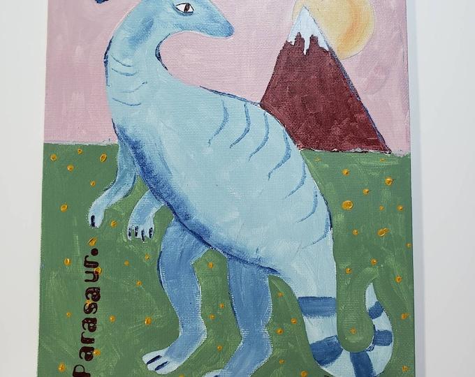 Parasaur Dinosaur original acrylic painting-8x10 canvas panel- kids Room Dino art-boho color pallette