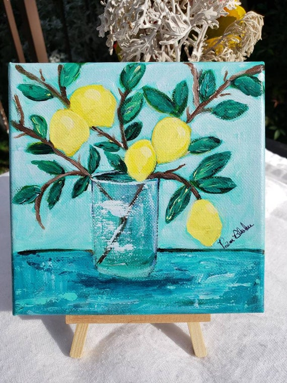 "Original ""Sweet Lemon Branch"" Acrylic Painting/6x6 canvas kitchen decor"