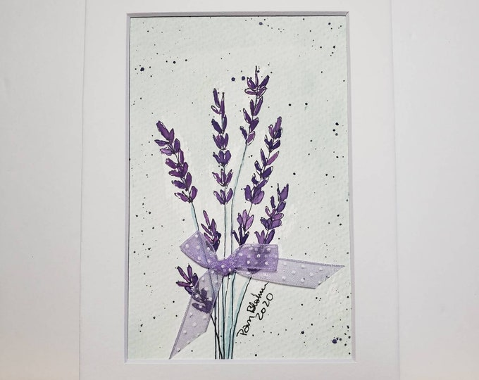 """Original watercolor & ink """"Lovely Lavender"""" - 5x7 white matted wall art-home deco- Lavender plant art- Purple  flower art-floral painting."""