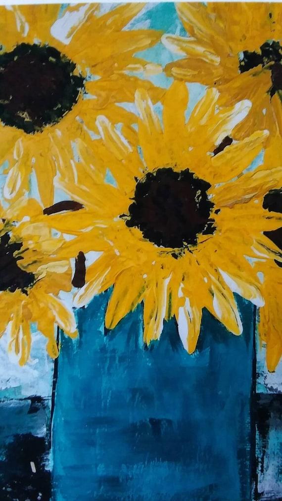 """Artist PRINT of original artwork  """"Sunflower Bouquet """" / 5x7 white matted. Wall art /home or office decor print/Flower print/Floral art"""