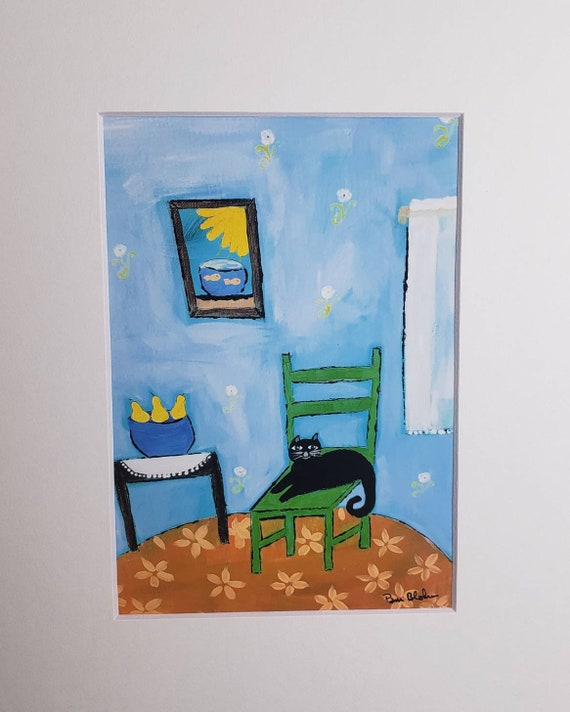 """Artist Print """"Cat on Green Chair"""" from original painting by Pam Blohm/white matted to 8x10"""