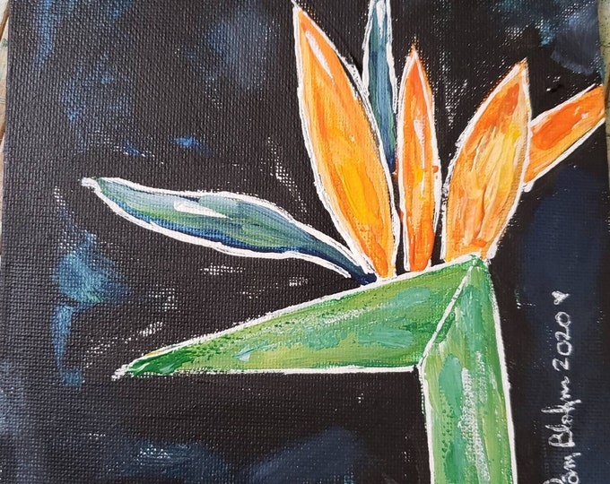 "Original  ""Abstract Bird of Paradise"" -Flower acrylic painting - 6x6 Canvas Panel - Tropical flower art - wall art - Gardeners Gift"
