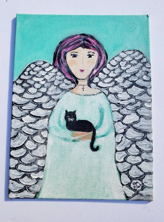 Kitty with Angel Acrylic Painting / 6x8 canvas panel/ original home decor wall art