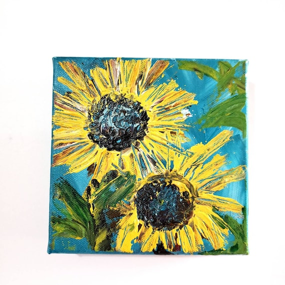 """6x6 original acrylic painting """"Two Sunflowers """" /  One of a kind Pallete knife art /flower painting/ wall art /home decor /  floral artwork"""